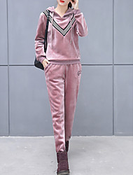 cheap -Women's Casual/Daily Simple Winter Fall Hoodie Pant Suits,Solid Striped Hooded Long Sleeve Rayon Micro-elastic