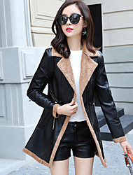 cheap -Women's Casual/Daily Simple Winter Fall Leather Jacket,Solid Shirt Collar Long Sleeve Regular PU Lamb Fur