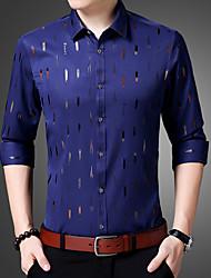Masculino Camisa Social Casual Temática Asiática Geométrica Algodão Colarinho de Camisa Manga Comprida