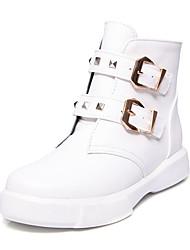 preiswerte -Damen Schuhe Kunstleder PU Winter Herbst Modische Stiefel Stiefeletten Stiefel Flacher Absatz Runde Zehe Booties / Stiefeletten Niete