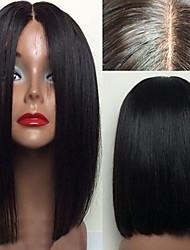 economico -Cappelli veri Lace frontale Parrucca Brasiliano Liscio Taglio medio corto / Con ciuffetti 130% Densità Attaccatura dei capelli naturale / 100% Vergine / Lordo Per donna Corto Parrucche di capelli