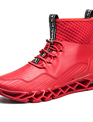 cheap -Men's Shoes Synthetic Winter Fall Comfort Athletic Shoes Running Shoes Booties/Ankle Boots for Athletic Casual Red Black