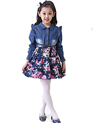 cheap -Girl's Daily Holiday Floral Dress, Cotton All Seasons Long Sleeves Cute Casual Navy Blue Yellow