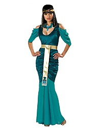 cheap -Cleopatra Ancient Egypt Costume Women's Dress Masquerade Party Costume Green Vintage Cosplay Cotton Short Sleeves Cold Shoulder Ankle
