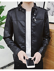 メンズ デイリーウェア 秋 ジャケット,ヴィンテージ ラウンドネック ソリッド レギュラー コットン アクリル その他 長袖