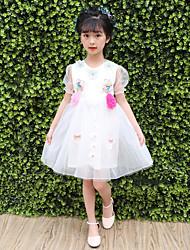 abordables -Robe Fille de Quotidien Sortie Couleur Pleine Fleur Polyester Eté Manches Courtes Mignon Princesse Bleu Blanc Rose Claire