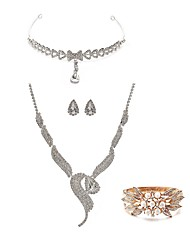 cheap -Women's Rhinestone Pearl Imitation Diamond Jewelry Set Body Jewelry 1 Necklace 1 Ring Earrings - Fashion European Fox White Forehead
