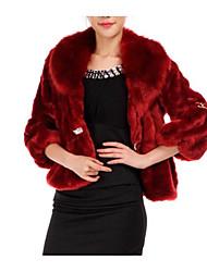 abordables -Manteau en Fourrure Femme, Couleur Pleine Col en V Fausse Fourrure Plissé