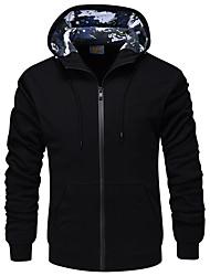 Pánské Běžné/Denní Kapuce Jednobarevné Kapuce Lehce elastické Polyester Zima Dlouhé rukávy