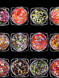 economico -12 pezzi A cuore Con lustrini Con lustrini Glitter per unghie Multicolore Nail Art Design