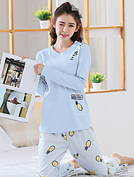 cheap -Women's Suits Pajamas,Print Print Cotton Blue