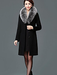 cheap -Women's Daily Casual Winter Fall Coat,Solid V Neck Long Sleeve Long Polyester Oversized