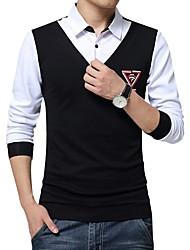 billige Nyheter-Bomull Skjorte Herre - Geometrisk / Langermet