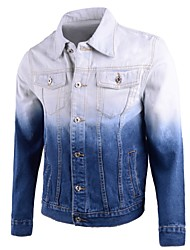 cheap -Men's Daily Casual Punk & Gothic Spring Fall Denim Jacket,Print Square Neck Long Sleeve Regular Cotton Polyester