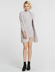 preiswerte -Damen Solide Freizeit Alltag Bluse Rock Anzüge,Rundhalsausschnitt Herbst Langärmelige Kaschmir