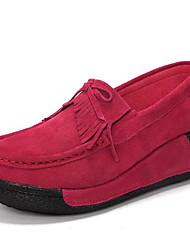Недорогие -Жен. Кожа Весна / Осень Удобная обувь Мокасины и Свитер Туфли на танкетке Круглый носок Черный / Красный / Синий