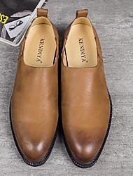 preiswerte -Herren Schuhe Leder Frühling Herbst Komfort Loafers & Slip-Ons für Normal Schwarz Kamel