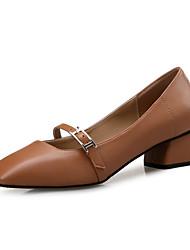 レディース 靴 レザー 春 秋 コンフォートシューズ ヒール チャンキーヒール スクエアトゥ のために カジュアル パーティー ブラック Brown