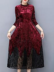 Dámské Vintage Dovolená Pouzdro Šaty Barevné bloky,Dlouhé rukávy Tričkový Midi Bavlna Zima Podzim Mid Rise Lehce elastické Neprůhledné