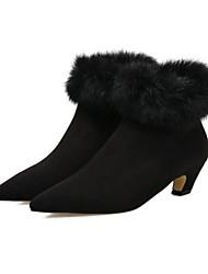 Feminino Sapatos Couro Ecológico Inverno Conforto Botas Salto Agulha Dedo Apontado Dedo Fechado Botas Curtas / Ankle para Casual Preto