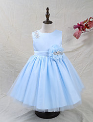 cheap -A-Line Knee Length Flower Girl Dress - Satin Tulle Sleeveless Jewel Neck with Beading Bow(s) Flower(s) by LAN TING BRIDE®