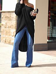 abordables -Femme Grandes Tailles Sortie Coton Trompette / Sirène Robe Couleur Pleine Epaules Dénudées Asymétrique