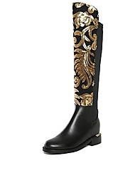cheap -Women's Boots Winter Leather Casual Flat Heel  Black Walking