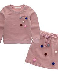 cheap -Girls' Polka Dot Clothing Set,Cotton Spring Fall Long Sleeve Street chic Blushing Pink Navy Blue