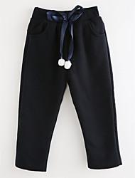 abordables -Pantalones Chica Un Color Algodón Otoño Simple Rosa Azul Marino Gris