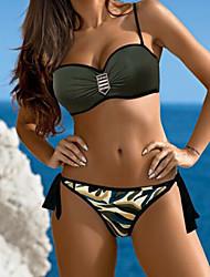 cheap -Women's Solid Camouflage Sexy Bandeau Bikini Swimwear Green Black Gray