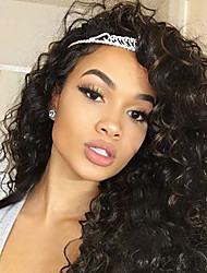 cheap -Human Hair Lace Front Wig Brazilian Hair Curly Wig 130% Natural Hairline / 100% Virgin / Unprocessed Women's Medium Length Human Hair Lace Wig