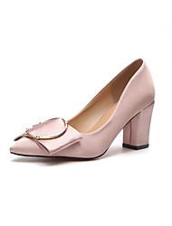 Feminino Sapatos Couro Ecológico Primavera Outono Conforto Saltos Salto Robusto Dedo Apontado para Casual Preto Vermelho Rosa claro