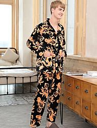 abordables -Costumes Pyjamas Homme,Fleur Moyen Polyester Noir Vin Bleu royal