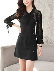 cheap -Women's Going out Work Sexy Street chic Bodycon Lace DressPatchwork V Neck Above Knee Long Sleeve Cotton Nylon Spring Fall Mid Rise
