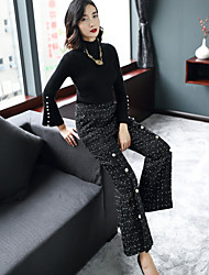 cheap -Women's Going out Casual/Daily Street chic Winter Fall Sweater Pant Suits,Solid Galaxy Turtleneck Long Sleeve Beaded Rayon Polyester Nylon
