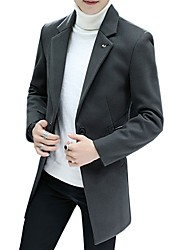 cheap -Men's Work Simple Long Plus Size Wool Pea Coat-Solid Colored Shirt Collar