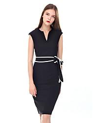 baratos -Mulheres Trabalho Tubinho Bainha Vestido Sólido Decote V Cintura Alta