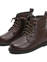 Para Meninos sapatos Couro Ecológico Inverno Outono Conforto Botas de Neve Botas Botas Curtas / Ankle para Casual Preto Marron