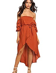cheap -Women's Puff Sleeve Trumpet / Mermaid Dress - Solid Colored High Rise Asymmetrical Off Shoulder