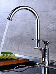 cheap -Art Deco / Retro Tall/High Arc Centerset Widespread Ceramic Valve Single Handle One Hole Chrome , Kitchen faucet