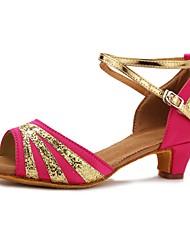 "cheap -Women's Latin Satin Heel Performance Paillette Cuban Heel Pink 1"" - 1 3/4"" Customizable"
