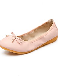cheap -Women's Shoes Leatherette Spring Summer Gladiator Comfort Flats Flat Round Toe Stitching Lace for Casual Dress Pink Beige Black