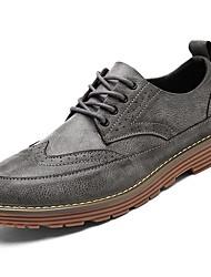 baratos -Homens sapatos Borracha Primavera Outono Conforto Botas Botas Curtas / Ankle Cadarço de Borracha para Ao ar livre Preto Cinzento Amarelo