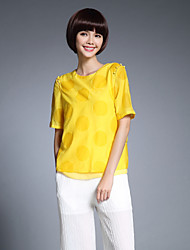 cheap -Women's Casual/Daily Chinoiserie Summer Shirt,Solid Round Neck ½ Length Sleeve Silk Polyester Thin