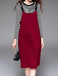 Tee-Shirt Robes Costumes Femme,Couleur Pleine Rayé Sortie Décontracté / Quotidien Chic de Rue Hiver Automne Manches longues A Bretelles