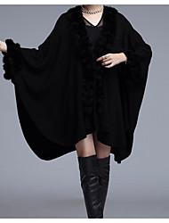 Недорогие -Для женщин На каждый день Зима Осень Пальто с мехом V-образный вырез,Простой Однотонный Обычная Длинные рукава,Искусственный мех,Меховая