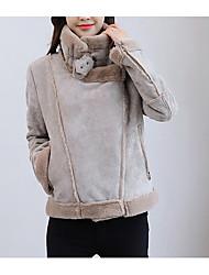 cheap -Women's Casual/Daily Simple Winter Fall Jacket,Solid Turtleneck Long Sleeve Short Lamb Fur