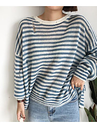 Women's Going out Simple Regular Pullover,Solid Round Neck Long Sleeves Japanese Cotton Winter Opaque strenchy