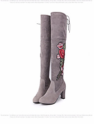 cheap -Women's Shoes Nubuck leather Winter Fall Comfort Fashion Boots Boots Chunky Heel Over The Knee Boots for Casual Black Gray Red