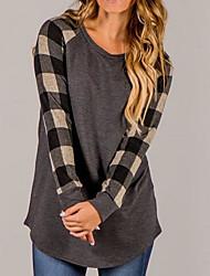 economico -T-shirt Per donna Con stampe, A quadri Cotone Nylon